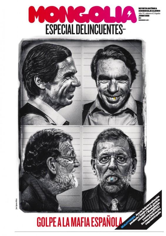 Ignác Říha   Mario Rajoy Capo di tutti   Are these still depictions of political leaders or heads of Spanish mafia. Collageist Ignác Říha